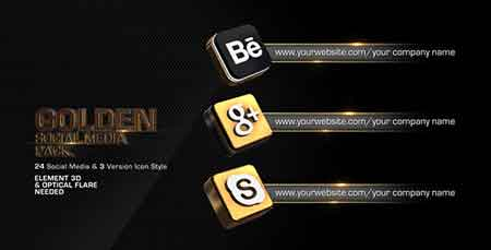 Golden Social Media Pack 4589950 After Effects Template
