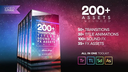 200+ Pack Transitions, Titles, Sound FX  - Premiere Pro Templates