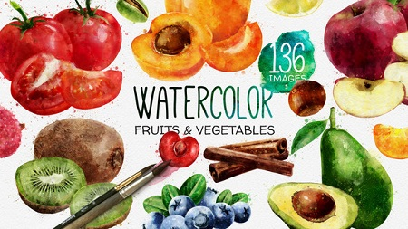 Watercolor Fruits And Vegetables 22608905 After Effects Template