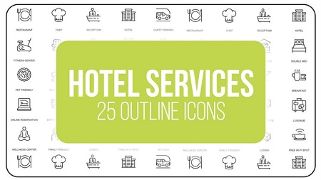 MotionArray - Hotel Service 25 Outline Icons After Effects Templates