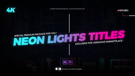 Neon Lights Titles 4K 22429324 After Effects Template Download
