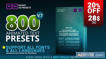 800 Text Presets for Premiere Pro After Effects V 7 22508370 Download