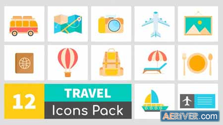 VideoHive Animated Travel Icons Pack 24176803 Free