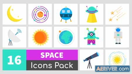 Videohive 16 Animated Space Icons Pack 24350877 Free