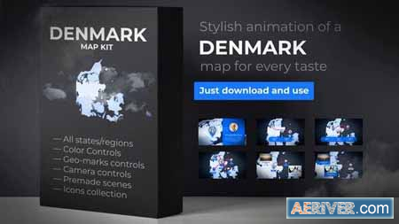 VideoHive Denmark Map - Kingdom of Denmark Map Kit 24269413 Free
