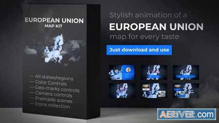VideoHive Map of European Union with Member States